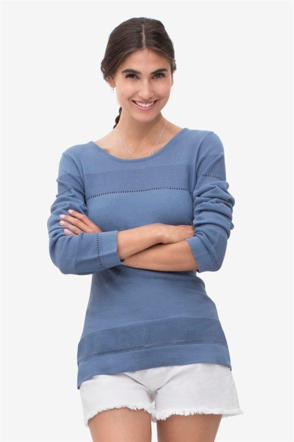 Blå amningströja med fint stickat mönster i 100% ekologisk bomull
